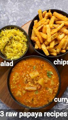 Papaya Recipes, Curry Recipes, Salad Recipes, Indian Veg Recipes, Vegetarian Recipes Easy, Healthy Recipes, Spicy Recipes, Green Papaya, India Food