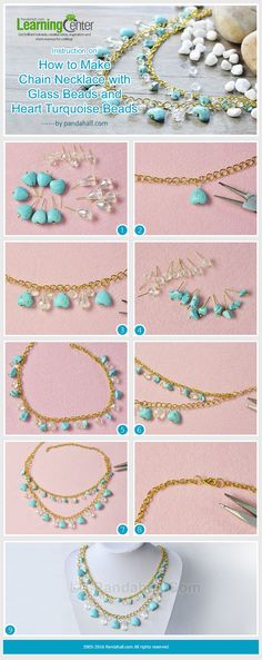 LC.Pandahall.com has pulished this tutorial on How to Make Chain Necklace with Glass Beads and Heart Turquoise Beads
