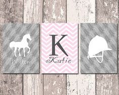 Equestrian Girls Room Decor Personalized by MoonlightGraphics
