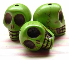 Green faux howlite skull beads by kitschbeadsUK on Etsy