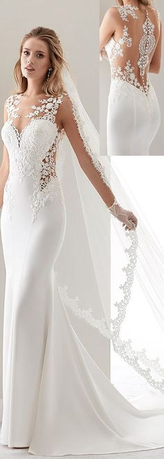Fashionable Tulle & Acetate Satin Jewel Neckline Sheath Wedding Dresses With Lace Appliques #weddinggowns