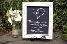 Chalk board sign .. Quote