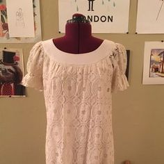 I just added this to my closet on Poshmark: Ivory Lace Shift Dress. Price: $25 Size: 8