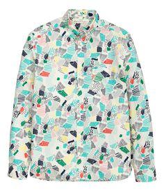 Gemustertes Baumwollhemd | Naturweiß | Herren | H&M AT