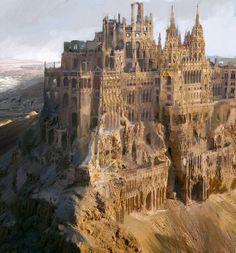 """""""""""Let's start with the end of the world, why don't we? Get it over with and move on to more interesting things. Jemisin, The Fifth Season What opening lines do you find unforgettable? (Picture is """"Sand Castle"""" by Matus Garaj)"""" Fantasy Kunst, Fantasy City, Fantasy Castle, Fantasy Places, Fantasy World, Dark Fantasy, Beaux Arts Architecture, Ancient Architecture, Modern Architecture"""