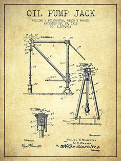 Oil Pump Jack Patent Drawing From 1916 - Vintage by Aged Pixel Wall Art Prints, Poster Prints, Oilfield Life, Dystopia Rising, Patent Drawing, Oil Industry, Oil Rig, Vintage Mickey, Patent Prints