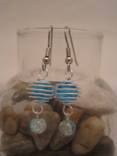 Blue and Silver Spiral Earrings by GoosesGoldenEggs on Etsy, $8.00