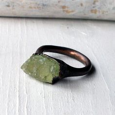 WANT. Copper Ring Beryl Spring Green Apple Gem Stone by MidwestAlchemy, $68.50