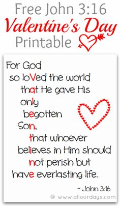 John 3:16 Valentine's Day Printable @ AllOurDays.com #freeprintable #valentines