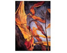 METAL WALL ART Leaves art of original watercolor painting, red, orange, yellow, blue, brown, gray by Kauai Hawaii fine artist Donia Lilly