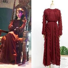 Feeling lavish and extravagant? Be like Jang Man Wol, the CEO of Hotel Del Luna, who loves fancy things just like this dress. Get this latest item inspired from newest Korean Drama Hotel Del Luna to complete your posh look! Luna Fashion, Fashion Line, Pop Fashion, Fashion Design, Korean Girl Fashion, Korean Fashion Trends, Old Dresses, Kpop Outfits, Hotels