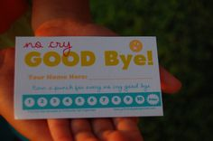 Printable punch card for having a tear free good bye, especially helpful for back to school!  Free printable.