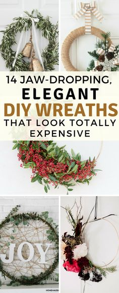 These DIY holiday wreaths are totally amazing and beautiful! I took a look at the tutorials, and they are all totally do-able!