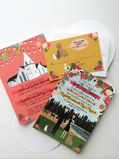 custom illustrated wedding invitations : church wedding