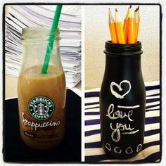 Frappuccino cup+chalkboard paint!