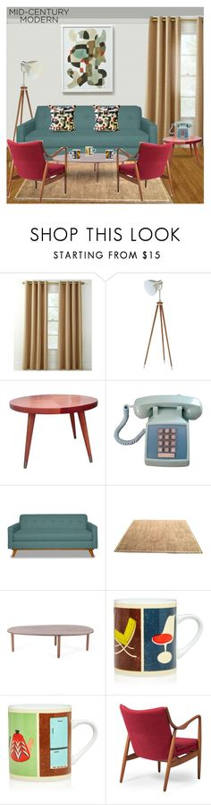 """Mid-Century Modern:Living Room"" by rosidew ❤ liked on Polyvore featuring interior, interiors, interior design, home, home decor, interior decorating, Country Curtains, Barbara Barry, Magpie & Jay and Baxton Studio"