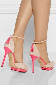 Charlotte-Olympia/Heather-satin-trimmed-suede-pumps