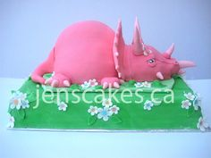 Pink Triceratops Cake - Side by JensCakes.ca, via Flickr