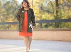 What I Wore: Orange Crush - Wardrobe Oxygen Fall Fashion Trends, Holiday Fashion, Autumn Fashion, Petite Fashion, Plus Size Fashion, Orange Fashion, Professional Dresses, Business Dresses, Orange Dress