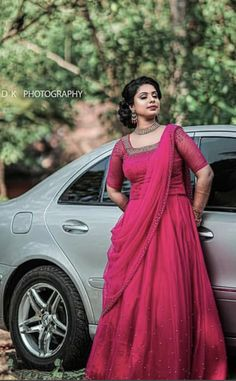 WhatsApp on 9496803123 to customise handcrafted bridal designer wear Kerala Engagement Dress, Engagement Dress For Bride, Bride Reception Dresses, Desi Wedding Dresses, Gown Party Wear, Party Wear Lehenga, Indian Bridal Outfits, Indian Bridal Fashion, Indian Fancy Dress