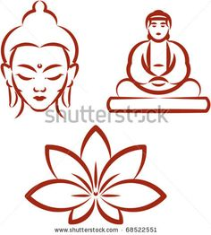 stock vector : Buddha and Lotus -Symbols of Buddhism . Vector illustration