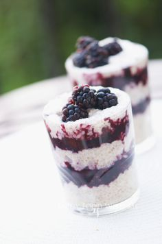 A delicious chia seed pudding made with chia seeds, coconut milk and cardamom layered with a blueberry coulis and topped with blackberries Coconut Chia Seed Pudding, Coconut Milk, Healthy Dessert Recipes, Breakfast Recipes, Blueberry Coulis, Chia Seeds, Berries, Cheesecake, Simple