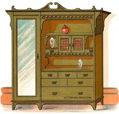 Pictures of two Victorian bedroom furniture sets including Victorian wardrobes and antique washstands. Victorian Bedroom Furniture Sets, Victorian Decor, Victorian Fashion, Ephemera, Curtains, Antiques, Pictures, Live, Home Decor