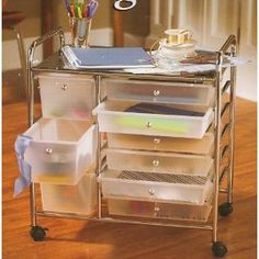 7 drawer rolling organizer with table all metal mesh for Ikea metal cart with drawers