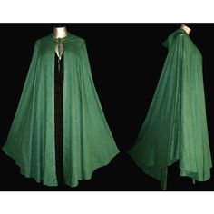 Long Green GYPSY PRINCESS CAPE Medieval Gothic Peasant Hoody Cloak... ($40) ❤ liked on Polyvore featuring costumes, plus size gothic costumes, gothic fairy costume, gothic costumes, green fairy costume and goth costume