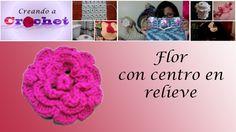 Flor con centro en relieve- Tutorial de tejido crochet