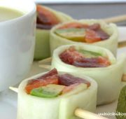 Fast Paleo » Lollipop Rolls - Paleo Recipe Sharing Site.  I think I'd use this idea, but with some deli turkey/ham, green onion, and cream cheese.