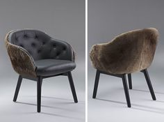 We love these kangaroo fur and hide chairs by Ross Didier and blew our budget for them. You can see these at Vue De Monde restaurant in Melbourne. Melbourne Restaurants, Book Bar, Bar Furniture, Kangaroo, Accent Chairs, Bakery, Budget, Sofa, Interiors