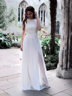 Simple wedding dress made of silk chiffon and lace. Elegant