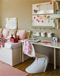 modern girl's room - beige wall paint, white furniture and pink accents - Jugendzimmerr - Kinderzimmer Ideen Beige Wall Paints, Beige Walls, Modern Girls Rooms, Modern Room, My Room, Girl Room, White Furniture, Furniture Design, Teenage Room