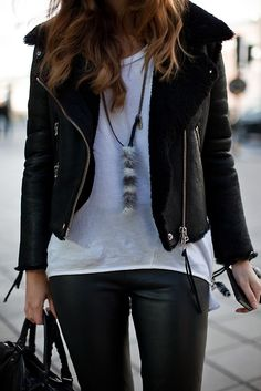leather pants & jacket.