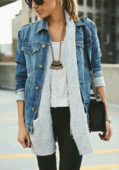 Gray cardigan, denim, baseball shirt and skinnies