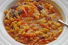 Afrikanischer Erdnusseintopf Weißkohl, Mais, Kidneybohnen, Möhren, passierte Tomaten