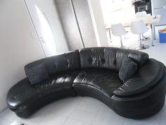 canap cuir noir arrondi occasion canap arrondi canape cuir noir parquet fonce deco - Canape Courbe