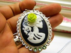 Green Skull Cameo Necklace Day of the Dead Inspired by CarleaPink, $18.00