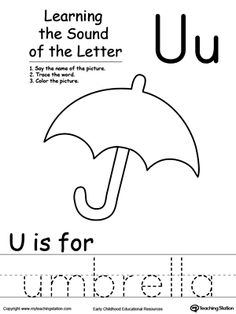 Learning Beginning Letter Sound: U: Learn the sound of the letter U by saying the name of the picture and then tracing the word. This printable worksheet is perfect for children to associate the alphabet letters with sounds.