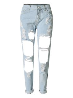 Sexy Solid Straight High Waist Pocket Hole Ripped Denim Jeans For Women