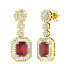 CERTIFIED 6.23 CT NATURAL GARNET & SI/VS DIAMOND DANGLE EARRINGS 14K YELLOW GOLD | eBay