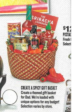 "idea for auction or gift - ""spicy"" basket - add hot sauces, dried chiles, cookbook?, what other cute items? - just to get the mind working ..."