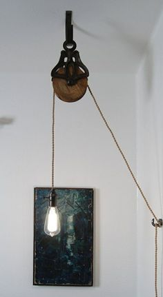 Antique Cast Iron & Wood Pulley Lamp – Vintage Industrial Edison Fixture: - Decoration and Furniture Ideas