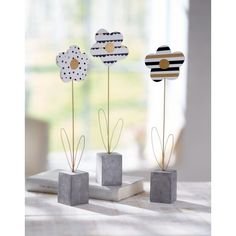 Deko-Objekt-Set, 3-tlg. Modern Flowers ca. H31cm