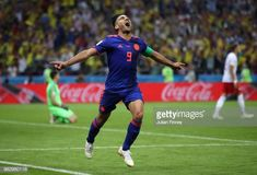 Radamel Falcao of Colombia celebrates after scoring his team's second goal during the 2018 FIFA World Cup Russia group H match between Poland and. Carlos Valderrama, Fifa World Cup, Soccer, Goals, Running, Celebrities, Poland, Sports, Russia