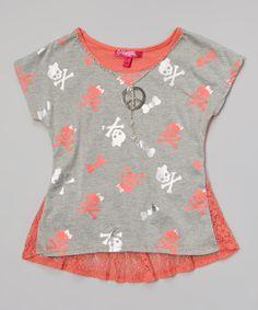 Melon Skull & Crossbones Fishtail Top - Toddler & Girls | zulily