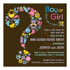 Shop Question Mark Gender Reveal Party Invitation created by pj_design. Personalize it with photos & text or purchase as is! Gender Reveal Party Invitations, Custom Baby Shower Invitations, Baby Shower Invitation Cards, Gender Party, Baby Gender Reveal Party, Gender Neutral Baby Shower, Baby Shower Invitaciones, Question Mark, Create Your Own Invitations
