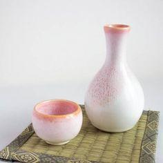 Mino Ware Sake Set - tokkuri and guinomi. Free worldwide shiping from Japan.