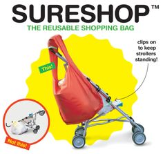 Sure Shop Reusable Shopping Bag for Strollers - designed not to cause your stroller to tip over!